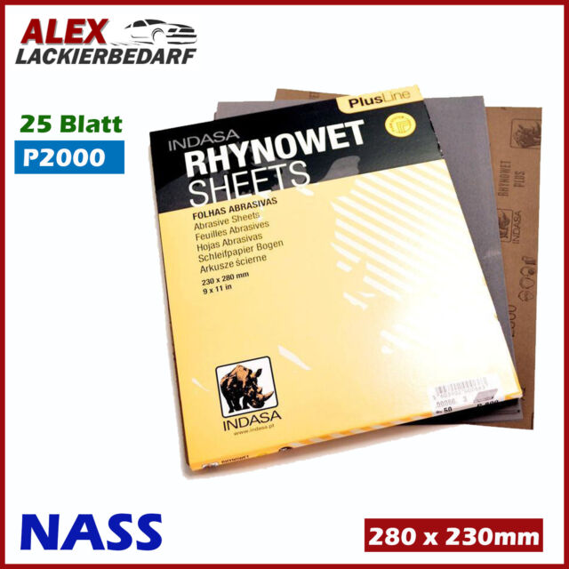 25x P2000 Indasa Nass Schleifpapier Bogen 230 x 280 mm Wasserfest