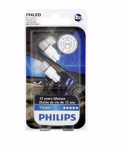 Philips 194 VISION 6000K TWO BULB BACK UP REVERSE TAIL LAMP LIGHT MINIATURE PAIR