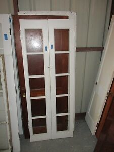 Interior French Double Doors Good For Tall Cabinet 5 Panes Glass Each Door Ebay