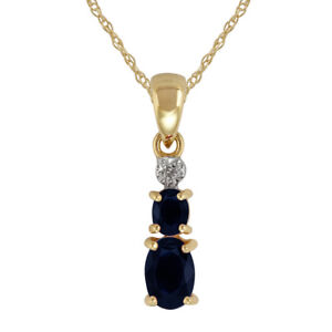 9ct-Yellow-Gold-0-72ct-Natural-Blue-Sapphire-amp-Diamond-Pendant-on-Chain