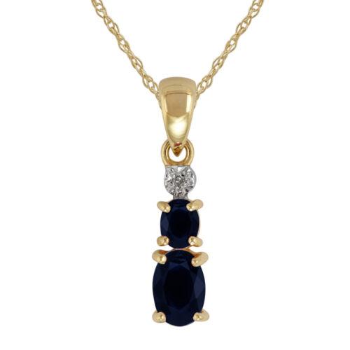 9ct Yellow Gold 0.72ct Natural Blue Sapphire /& Diamond Pendant on Chain