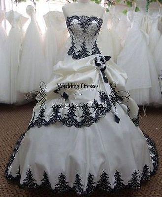 Vintage white black Gothic satin a-line wedding dress bridal gown size custom