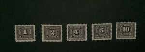 Canada stamps 1906/1932, MNH, Sc#J1/J5, Darnell#B1/B5,Postage due