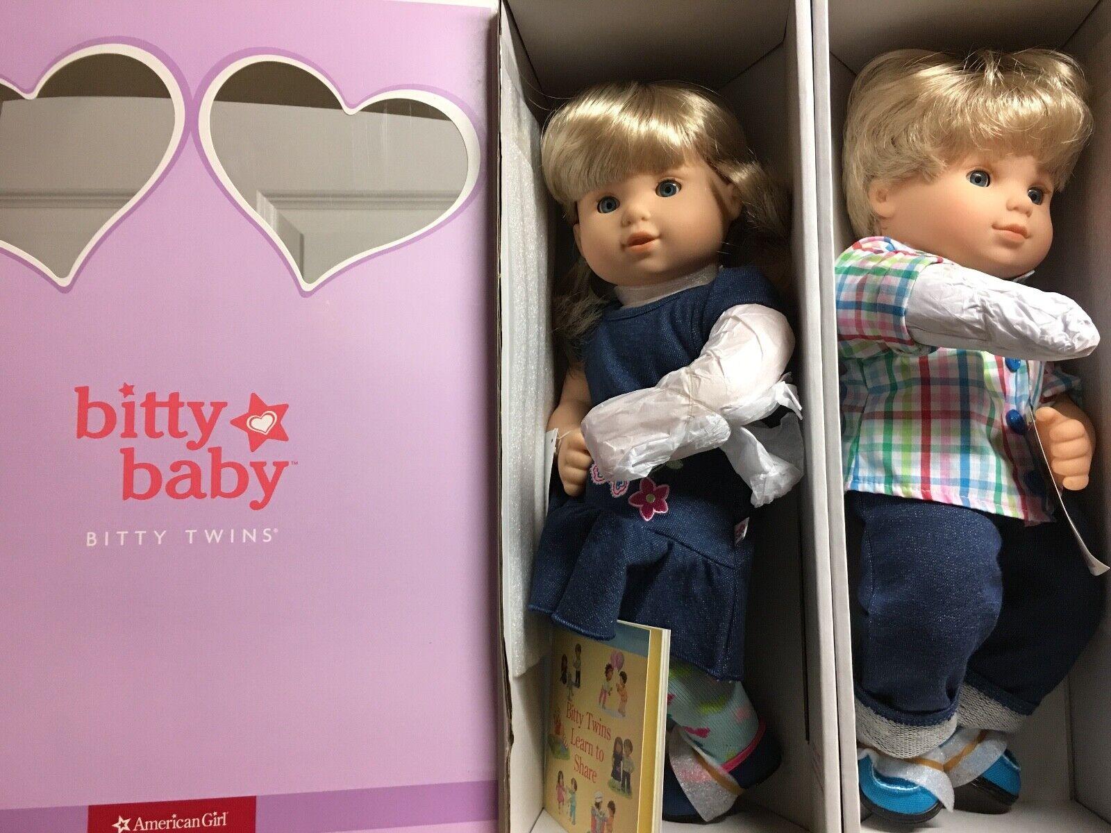 American Girl Bitty Twins Dolls Blonde hair and Blau eyes boy girl set