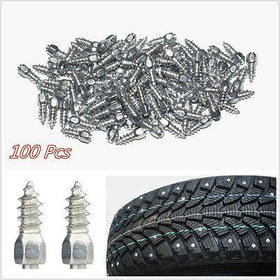 100 Pcs Steel Body & Carbide Tip 12mm Autos Wheel Chains Studs Tires Snow Spikes