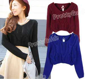 3283d0fb75 Image is loading Women-Eyelet-Cable-Knit-Lace-Up-Crop-Long-