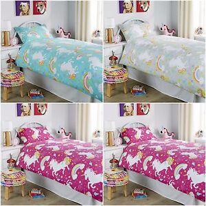 Kids Unicorn Pink-Grey-Duck Egg Duvet Quilt Cover Bedding Set Single-Double