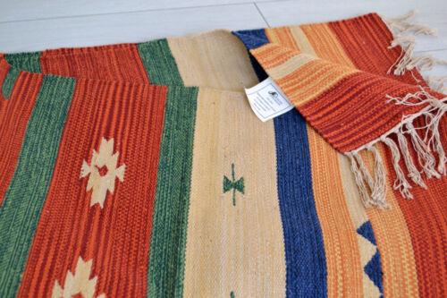 Alfombra De Algodón 150x90cm 5x3/' Rojo Verde Beige Indian Handmade