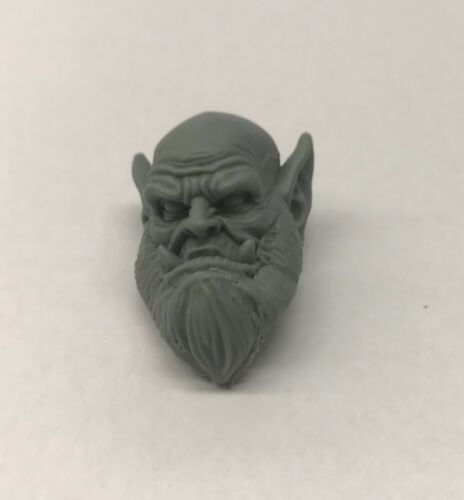 Custom modded Orc head hand-sculpted Fits Mythic Legion neck-post #2