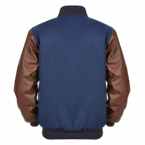 NEW Navy Blue Wool Varsity Letterman Bomber Jacket* Brown Pure Leather Sleeve