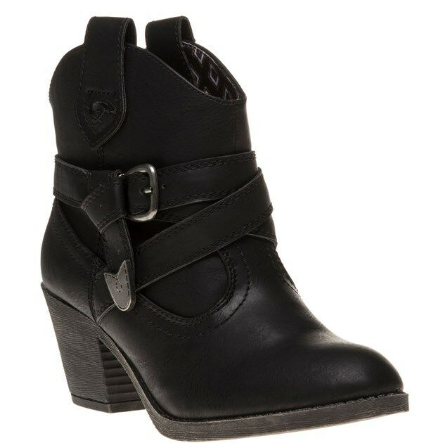 New Womens Rocket Dog Black Satire Pu Boots Bnkle Pull On