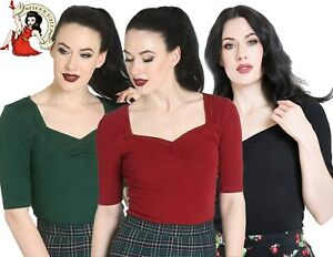 HELL-BUNNY-PHILIPPA-Jersey-TOP-50s-vintage-style-STRETCH-BLACK-XS-4XL