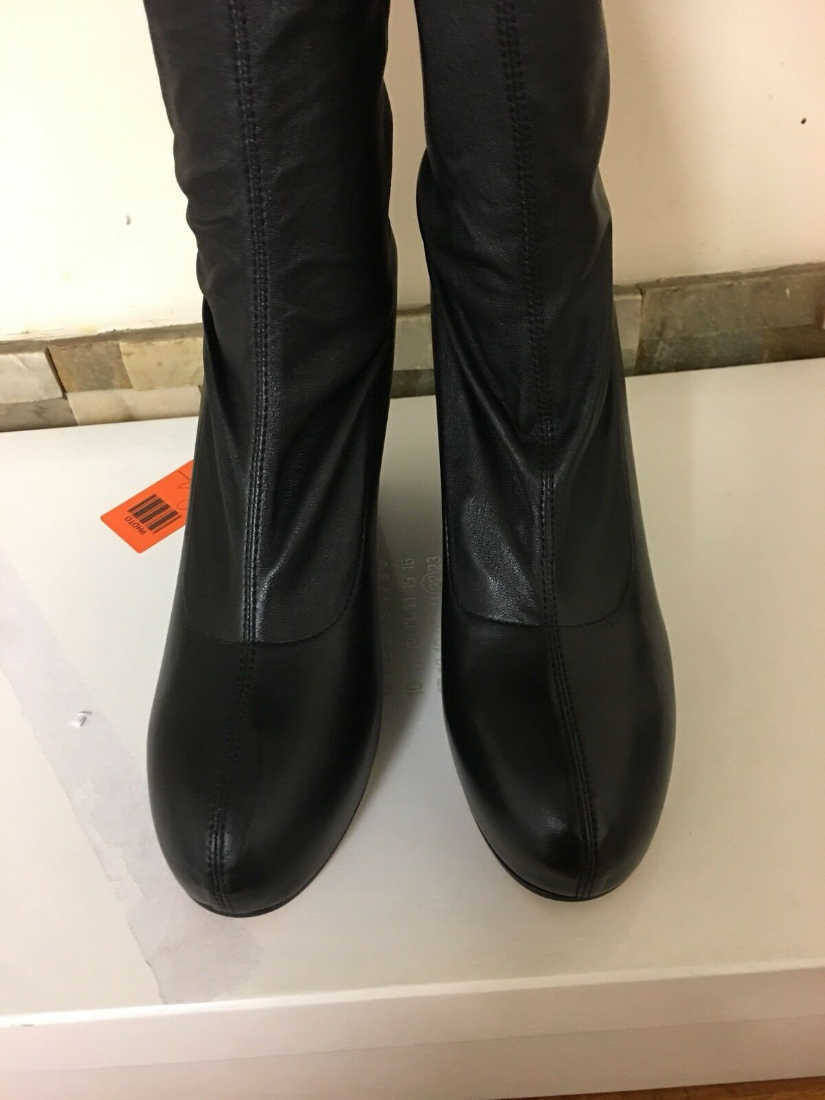 Maison Martin Margiela cuña de cuero negro negro cuero botas talla Muslo Reino Unido 3 EU 36 6b1b8e