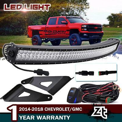 14 18 Chevy Silverado 1500 2500 3500hd 50 Curved Led Light Bar W Mount Brackets Ebay