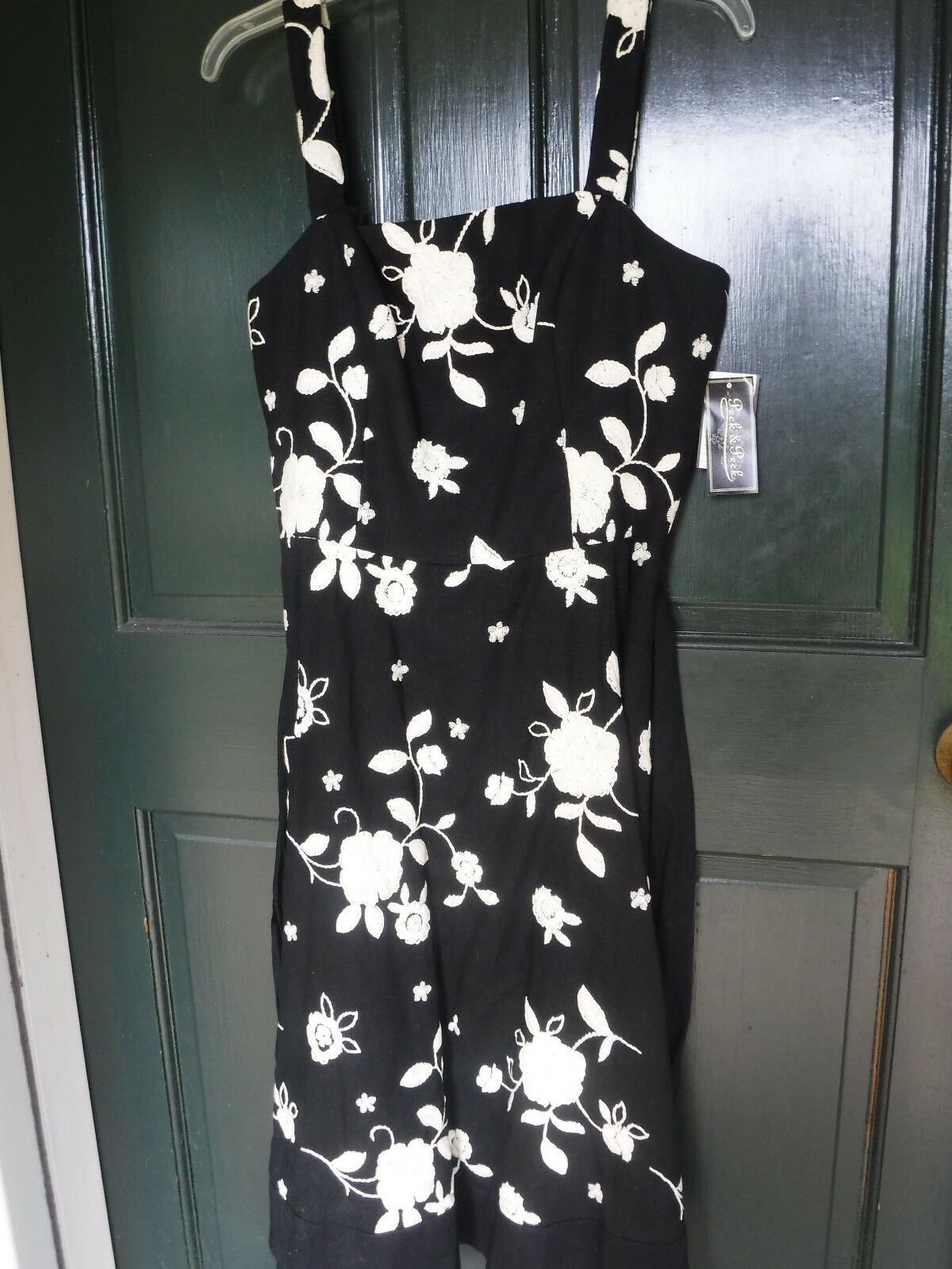 Peck & Peck Sleeveless Dress Embroidered White on Black Linen/Rayon Lined NWT