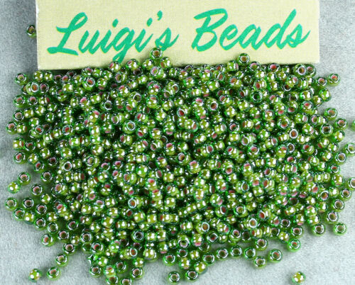 Luster Peridot//Opaque White Lined 10g 11//0 Round TOHO Glass Seed Beads #1046