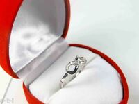 Genuine 14k Solid White Gold Infinity Natural Diamond Ring Size 2 - 12