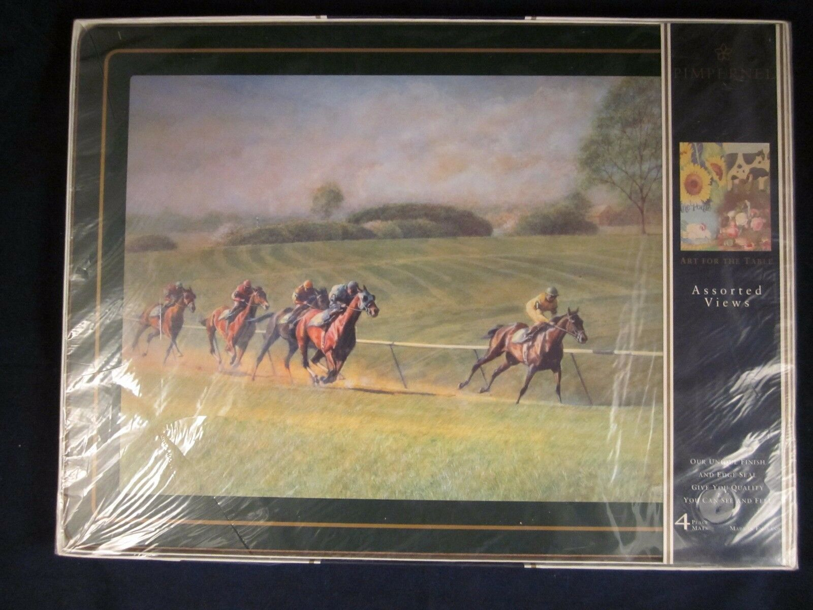 Pimpernel NAPPERONS Horse Racing Large 16  x 12  Set de 4  VINTAGE NEW IN BOX
