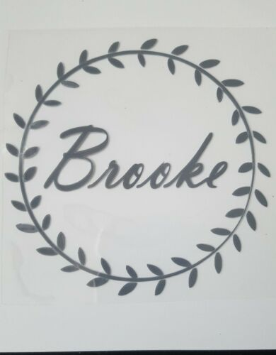 Hotfix iron-on transfer 10cm leaf circle with the name cut  17colours