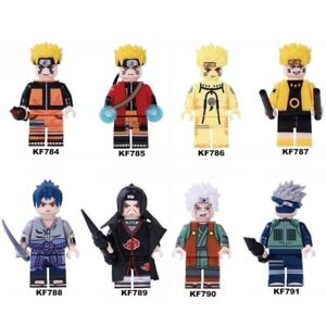 Lot-of-8-mini-figures-naruto-sasuke-uzumaki-uchiha-block-Hatake