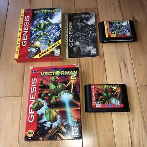 VECTORMAN-1-amp-2-Sega-Genesis-Game-LOT-OF-2-1-Is-Complete-Original-Authentic-Rare