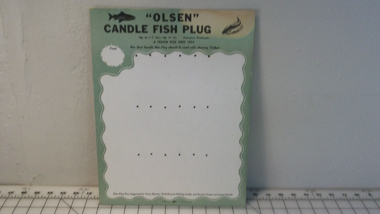LE OLSEN FISHING LURE DISPLY PLACARD, VINTAGE  ORIGINAL  free shipping worldwide