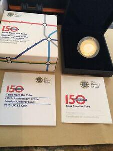 2013 Royal Mint Silver Proof 150th Anniv London Underground £2  ROUNDEL & COA