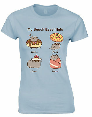 NEW /& OFFICIAL! Pusheen /'Ice Cream/' Womens Rolled Sleeve T-Shirt