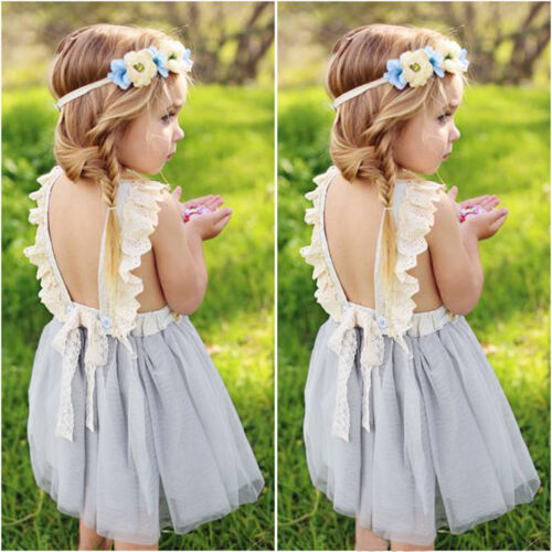 New Kids Toddler Baby Girl Clothes Sleeveless Flower Tutu Dress Party Dress 2-7T