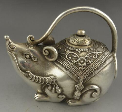 Chinese Tibet silver Wealth Yuanbao Money Mouse TeaPot crafts Statue