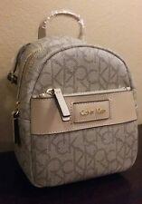 NWT Calvin Klein Jordan Mini Logo Utility Backpack Khaki tan gold
