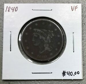 1840-BRAIDED-HAIR-LARGE-CENT-VERY-FINE-CONDITION-2-95-MAX-SHIPPING-C768