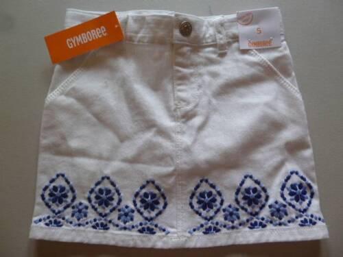 GYMBOREE Sparkle Safari White Denim Skirt W//Blue Embroidery Size 4 5 6 8 10 NEW