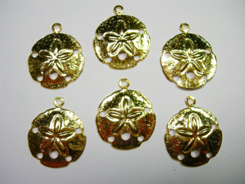 6 Gold Plated Sand Dollar Charms Drops Earring Findings