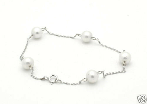 14K White Gold Bracelet With Freshwater Pearls 7 Inches