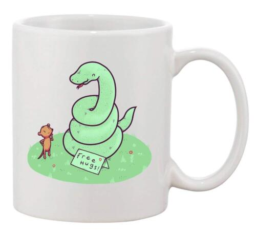 Ceramic Coffee Mug Free Hugs funny Coiled Snake Offering Free Hugs to Mouse
