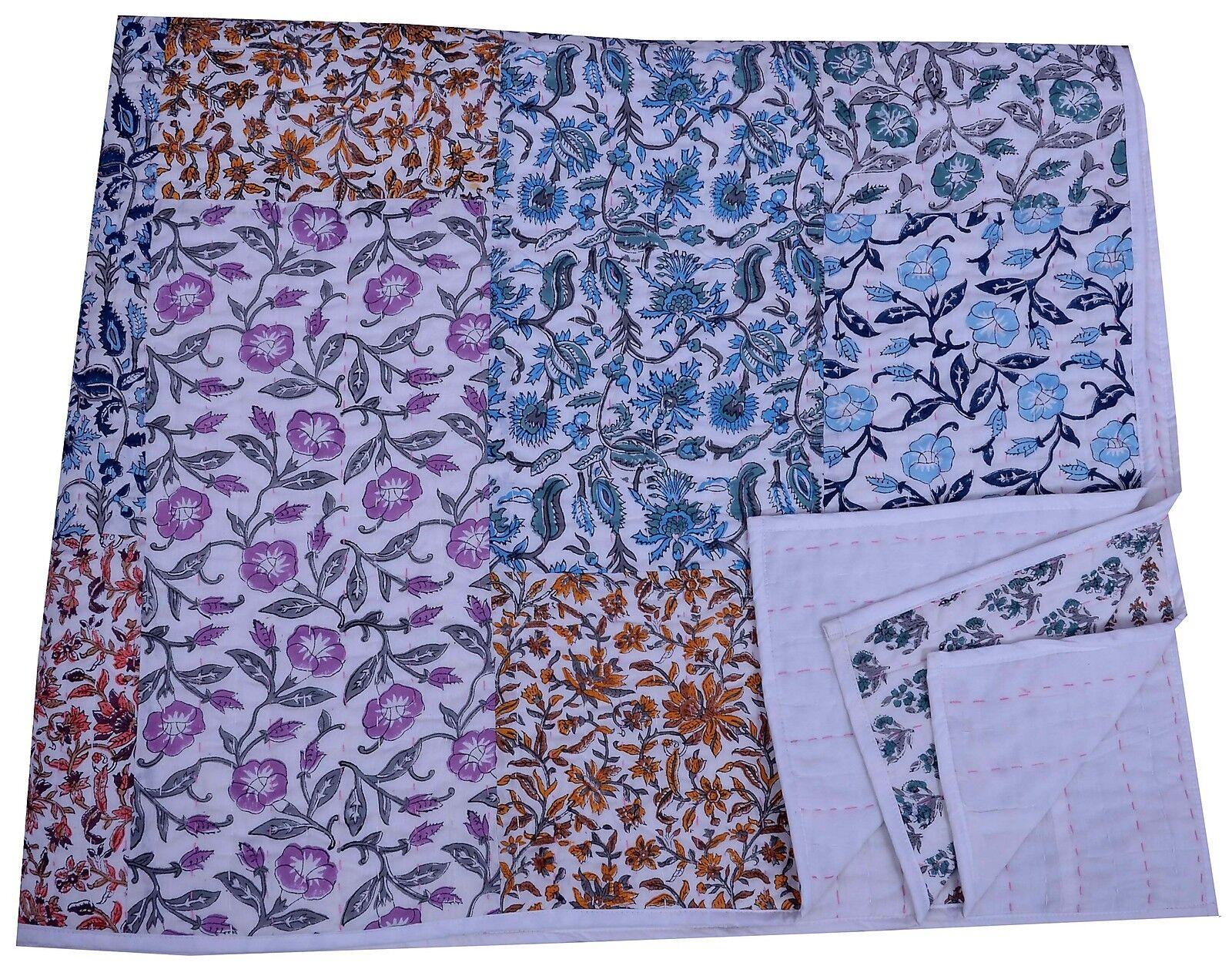 Indian Kantha Patchwork Floral Drucken Jaipur Razai Cotton Bettspread Reversible