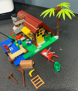 Lego-LOT-Creator-Log-Cabin-Beach-House-Incomplete-Parts-retired-5766-Cottage