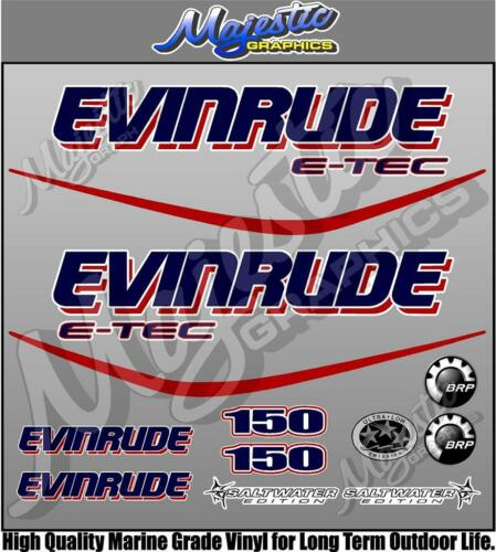 EVINRUDE ETEC OUTBOARD DECALS 150hp