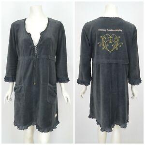 Womens-Odd-Molly-577-Velour-Velvet-Tunic-Dress-Grey-Pocket-Size-4-UK14-L