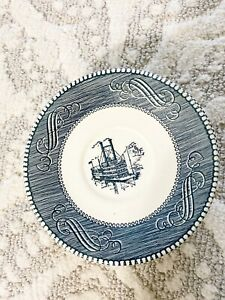 Vintage-Currier-And-Ives-Steamboat-Side-Plates-Saucer-Set-Made-In-USA-Set-Of-7