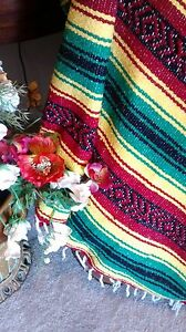 Mexican Falsa Blanket Serape Red,Yellow & Green Falsa Rasta colors EXTRA LARGE