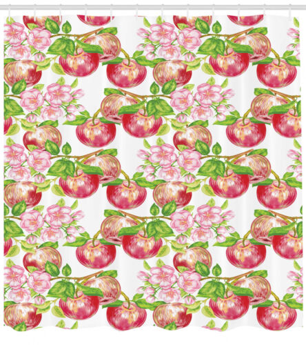 Apple Tree in Summer with Flowers Nature Scenery Art Image Shower Curtain Set