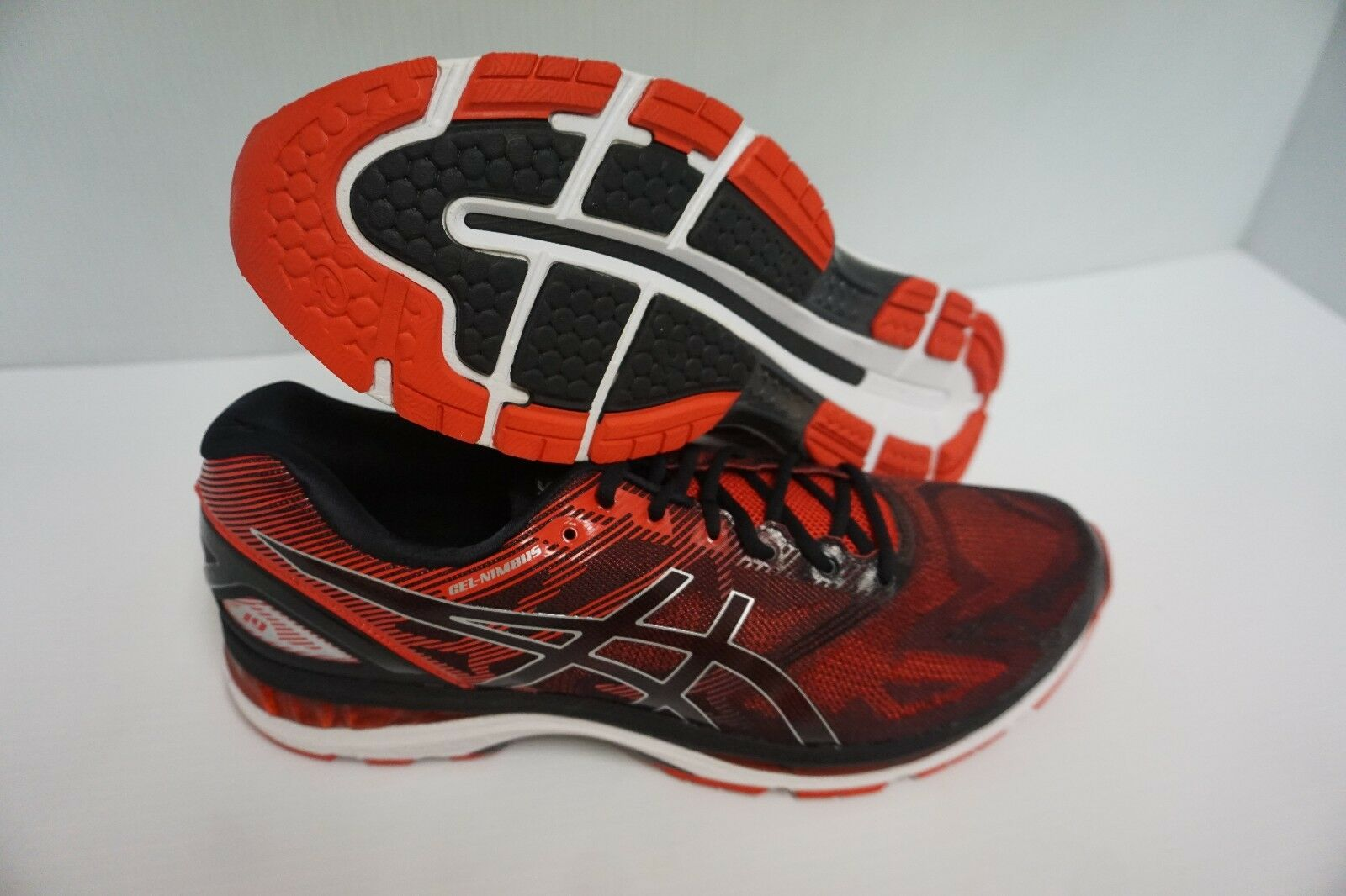 Asics men's gel nimbus 19 running shoes black vermilion silver size 11.5 us