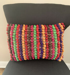 Pier-1-Imports-Multi-Color-Wool-Poms-Striped-Pattern-Decorative-Pillow-18x13