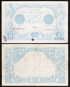 5-FRANCS-1916-FRANCE-Bleu-Zodiaque-Gemeaux-P70-T-11780
