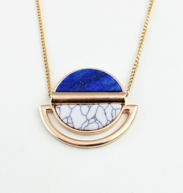 lapis lazuli Turquoise 18K Gold Plated Pendant long Necklace