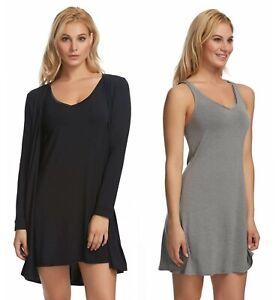 Felina-Women-039-s-Modal-Tank-Chemise-amp-Wrap-2-Piece-Loose-Fit-Loungewear