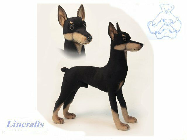 Hansa Doberman 2708  Plush Soft Toy Dog Sold by Lincrafts Established 1993