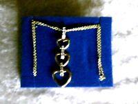 Triple Hearts Necklace W/ Rhinestones Dangle On Double Goldtone Chain Avon../.